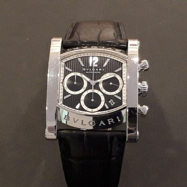 7632f492ff1a 2018年12月3日 ブルガリのAA38SCH アショーマ クロノグラフ 自動巻き時計  革ベルトを買取させて頂きました。ブランド時計買取ならエコスタイルへ