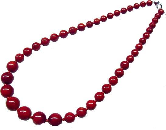 赤珊瑚 丸珠ネックレス 7.0mm〜14.0mmの買取強化例です。