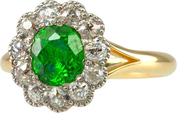 750YG グリーングロシュライトガーネット1.2ct ダイヤ1.2ct ダイヤ付きリングの買取強化例です。
