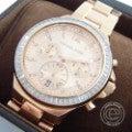 【良品☆即決】MICHAEL KORSマイケルコース MK-6213 クロノグラフ クオーツウォッチ ステンレススチール 腕時計 レディース ピンクゴールドの買取実績です。