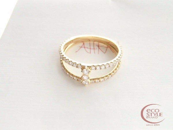 AHKAHアーカー vivian couture K18YG/ダイヤ リアンリング9号