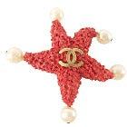 シャネル 1993年コレクション 赤珊瑚風 パール付きヒトデブローチ 美品の買取強化例です。