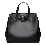 デルボー 黒 リボンデザイン Simplissime レザーハンドバッグの買取強化例です。