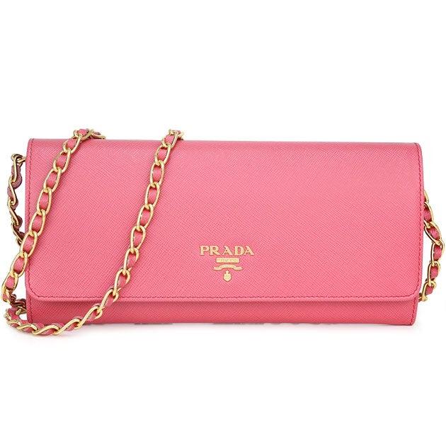 プラダ ピオニーピンク サフィアーノレザー チェーンウォレット 長財布 中古美品の買取強化例です。
