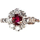 pt950 ノーヒートビルマ産ルビー2.41ct メレダイヤ1.2ct 鑑別付指輪の買取強化例です。