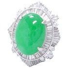pt900 翡翠 8.2ct テーパーダイヤ 1.6ct 指輪の買取強化例です。