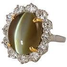 pt950×k18 クリソベリル キャッツアイ 8.6ct メレダイヤモンド 1.8ctの買取強化例です。