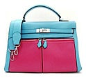 エルメス ケリーラキ35 □K刻印 青×ピンク バイカラーハンドバッグ 未使用品