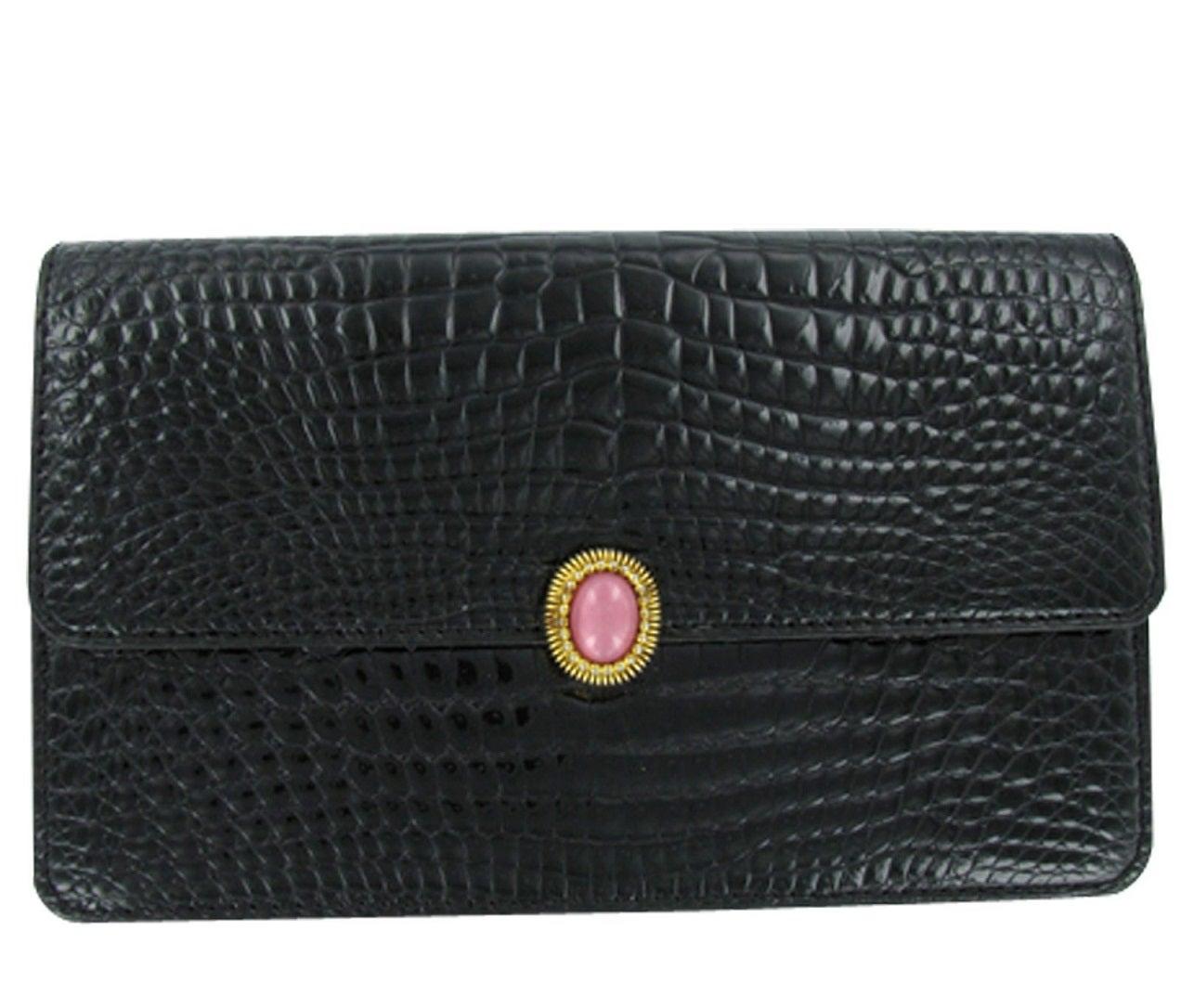 モラビト 黒 クロコダイル カラーストーン付きデザイン長財布 美品の買取強化例です。