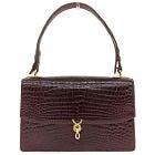 モラビト ダークブラウン クロコダイル シグネチャーライン セミショルダーハンドバッグ 美品の買取強化例です。