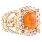 k18YG ファイヤーオパール10.12ct メレダイヤモンド1.97ct リングの買取強化例です。