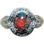 pt950 赤色系遊色効果ブラックオパール6.49ct メレダイヤ1.57ct 指輪の買取強化例です。
