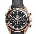 オメガ K18PG シーマスターコーアクシャル プラネットオーシャンクロノ222.63 革ベルト 金無垢 腕時計