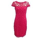 タダシショージ<br>AYS1812M エンブロイダリーレース デコルテシースルー 半袖 ミディアムドレス