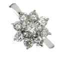 タサキ フラワーモチーフ PT950 2.1ctダイヤモンド リング 中古美品