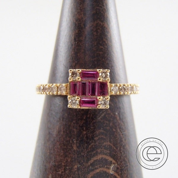 ダイヤモンドのK18/バケットルビー/ラウンドダイヤモンド0.23ct スクエアリング 11号の買取実績です。