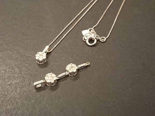 エコスタイル銀座本店で、トップが壊れたk18WGのダイヤ付ネックレスを買取りました。