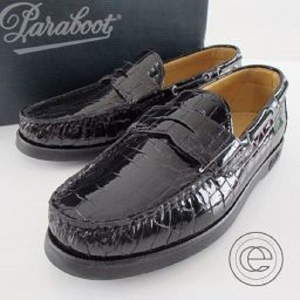パラブーツ(Para boot)のビームス別注の黒色、クロコ型押しローファーを高価買取致しました。