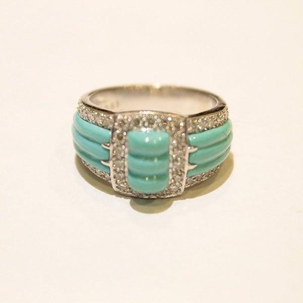 トルコ石のダイヤモンド付リングをお買取りいたしました。
