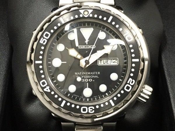 セイコーの黒 マリンマスター 7C46ー0AC0 クオーツ時計の買取実績です。